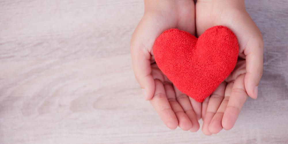 Hand holding felt red heart