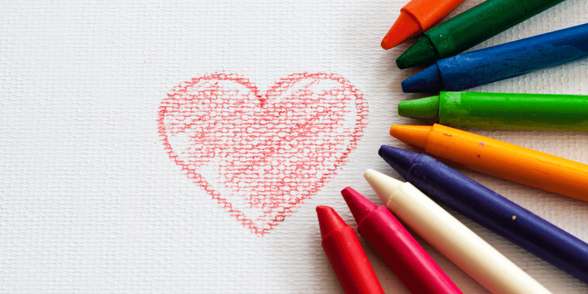 Hand drawn heart coloured in red