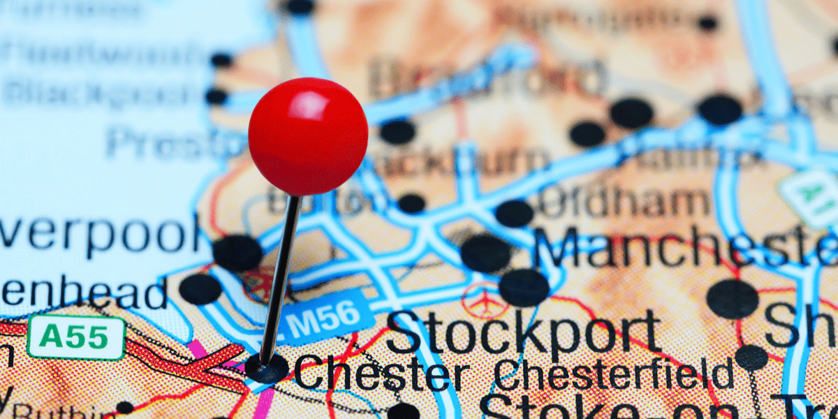 Map with pin pointing to Chester