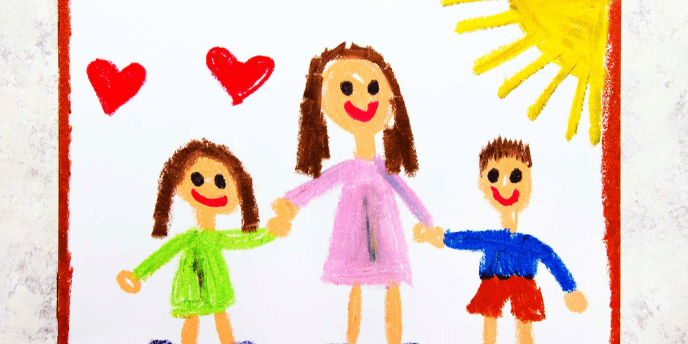 Drawing of mum and two children