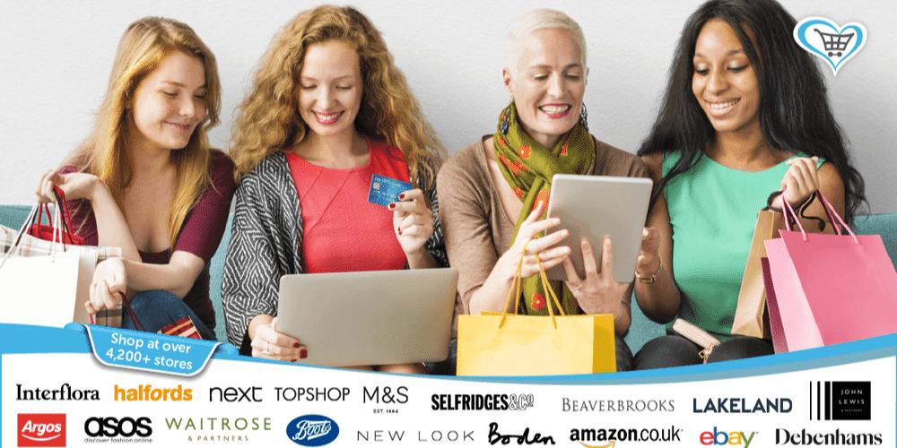 Ladies sat around shopping online